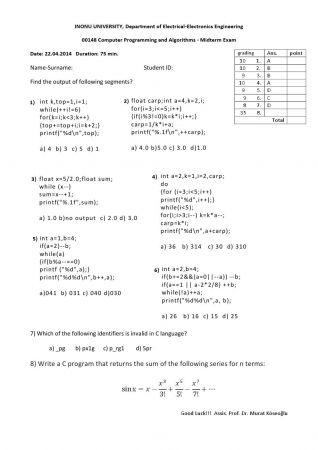Bilgisayar Programlama ve Algoritmalar Vize Soruları ve Cevapları 2014