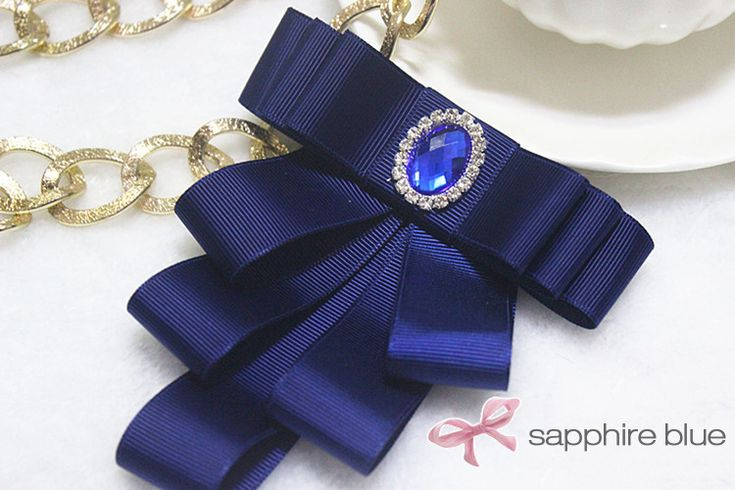 Hand made Solid Color Brooch Tie with Rhinestone