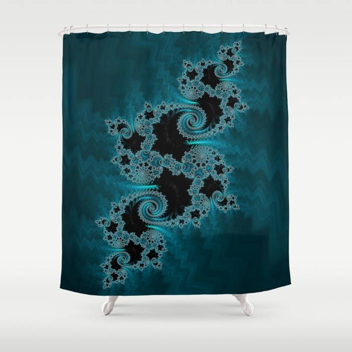 Blue And Black Shower Curtain Mandelbrot Infinity Bathroom Decor Sacred Geometry Home Trippy Psychedelic FREE SHIPPING US