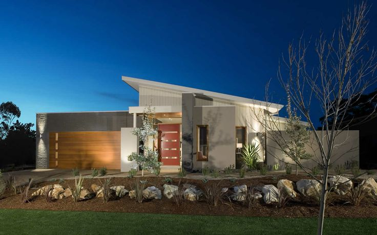 Skillion roof, wall cladding contrasts: brick, render and shadowclad or similar