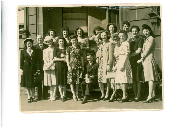Representatives from many unions in the Red Cross Trade Unions Popular Girls competition during World War II and Trades Hall Assn members
