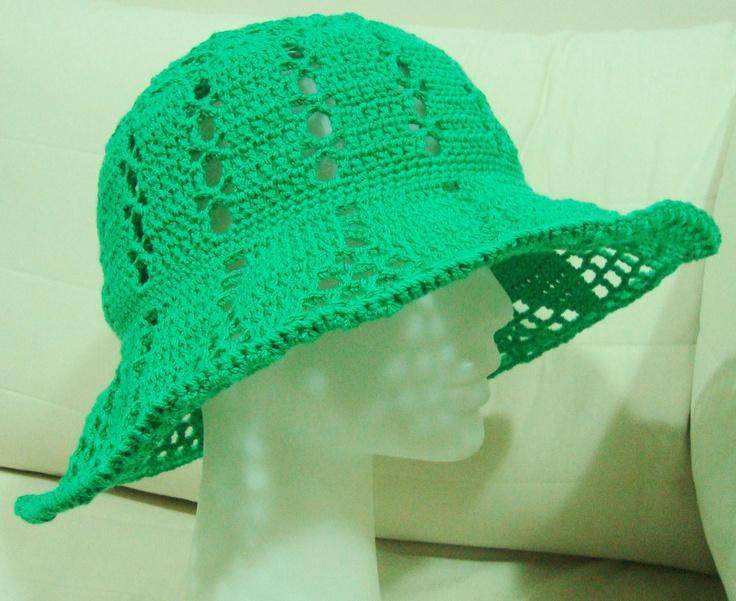Lace Crochet floppy hat in green hat, green wedding hat, wide brim hat. $57.00, via Etsy.