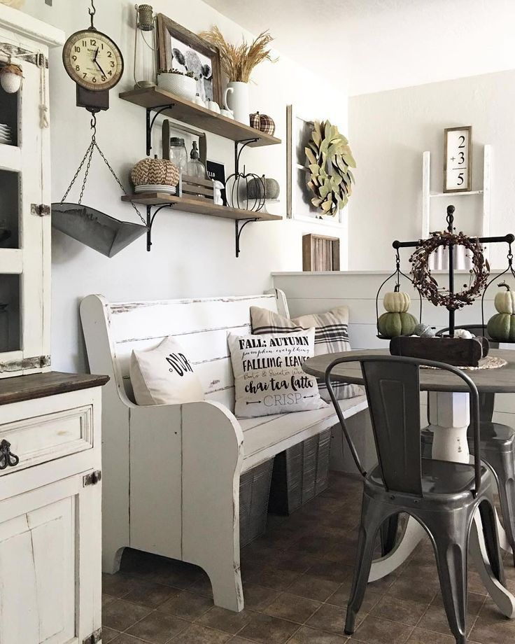 I love the idea of having a farmhouse bench as part of the dining room table seating arrangement.