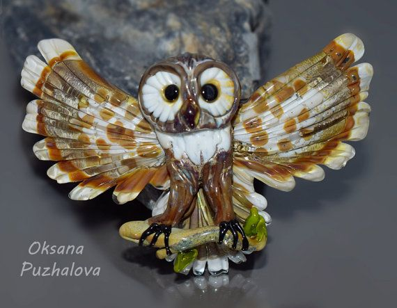 Owl barrette for thin and middle hair. Barrettes by OxanaPuzhalova
