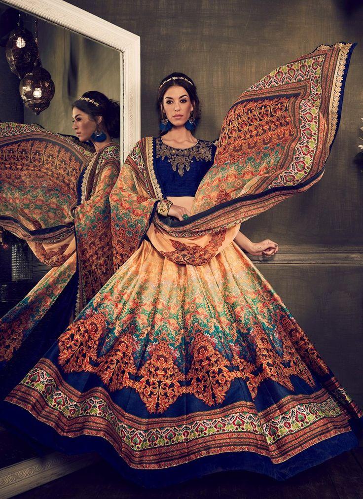 Royal Blue and Beige Shaded Bangalori Silk Printed Lehenga