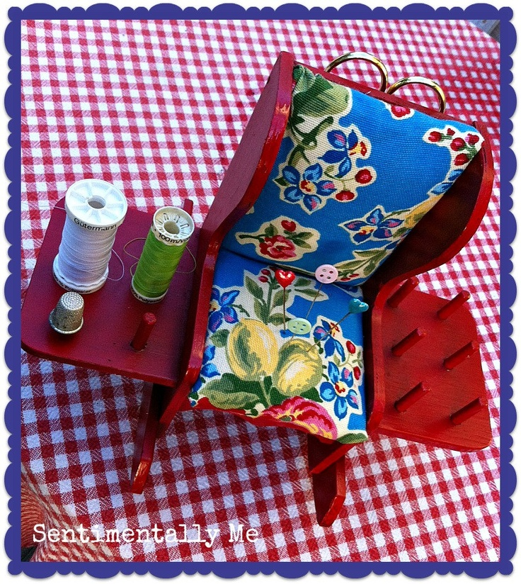 Vintage Pincushion and Notions Holder. Cute Little Cherry Red Rocking Chair.