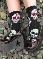 Big Muertos Skulls crew socks from Socksmith - anotehr one of our popular styles.