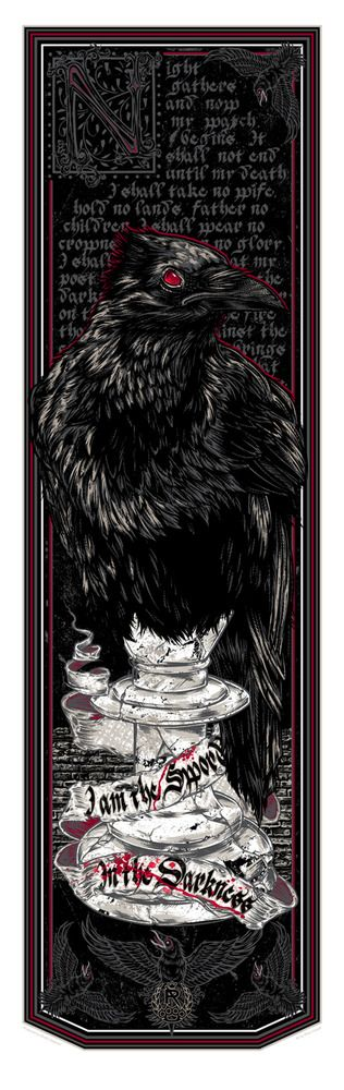 "Game of Thrones: Night Watch Banner (""I am the Sword in the Darkness"") by Studio Seppuku"