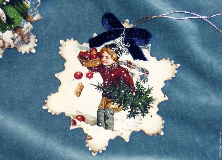 """Купить Подвески новогодние """"Снежинки"""" - новогодние игрушки, новогодние украшения, новогодний интерьер, снежинки на елку"""
