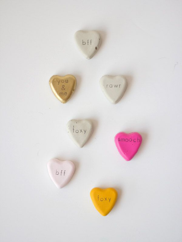 diy cement valentines / lovely indeed