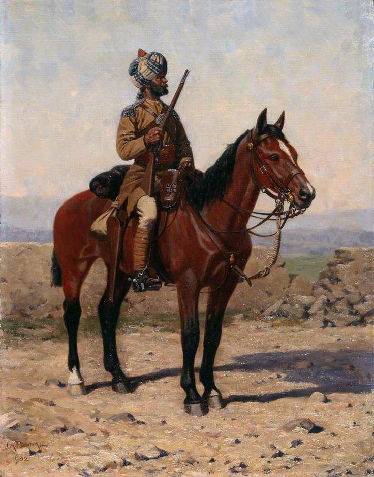 A Mounted Sowar in Drab Full Dress, Guides Cavalry painted by James Arthur Pownall in 1902