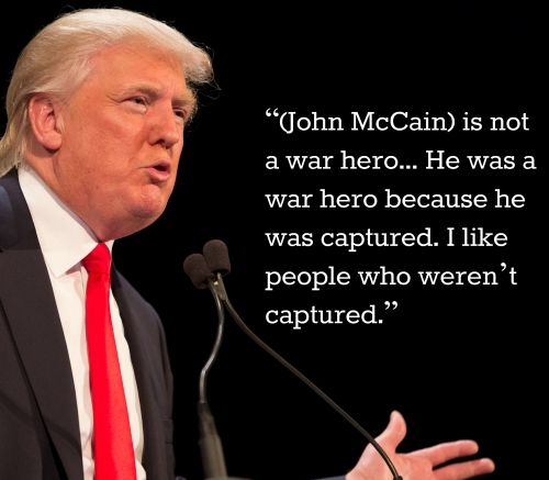 Please remind Mr. Trump of the sacrifices made by our veterans and expecially of our POW and those that didn't come home or came home broken.  It is their service that has protected our freedoms.  They should be respected and honored.   This is the link to the video where Donald trashes John McCain and our POW https://www.theguardian.com/us-news/video/2015/jul/19/donald-trump-john-mccain-not-a-war-hero-video #Trump #JohnMcCain