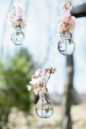 hanging vase wedding decor filled with cherry blossoms - brides of adelaide