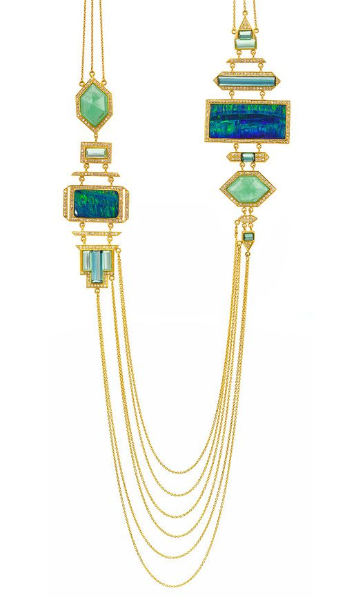 Goddess Necklace in Boulder Opals, Emeralds, Tourmalines. Signature Drape necklace in 18k gold with 24.41 cts. t.w. blue and green tourmaline, 21.77 cts. t.w. emeralds, Boulder opals, and 2.71 cts. t.w. diamonds, $39,000; Lauren Harper