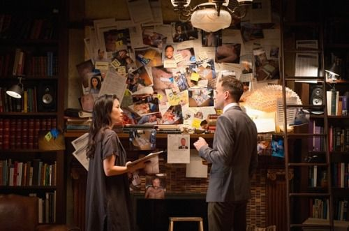 """Elementary (S03 E02) """"The Wall of Crazy"""" the official web page calls it. Or should that be, """"the official page of web calls it""""? (Thanks, @coffeegrrl)"""