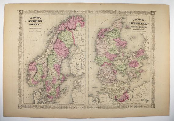 Antique Sweden Map, Norway Denmark Map 1867 Johnson Map, Scandinavia Art Map, Northern Europe Travel Map, Vintage Geography Art available from OldMapsandPrints on Etsy