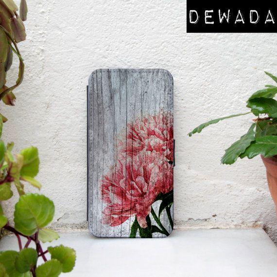 iPhone 6s wallet case floral vintage wood print for by DeWadaSTORE
