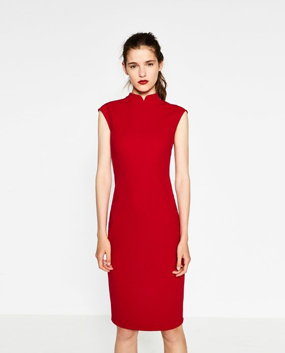 Image 2 of DRESS WITH MAO COLLAR from Zara