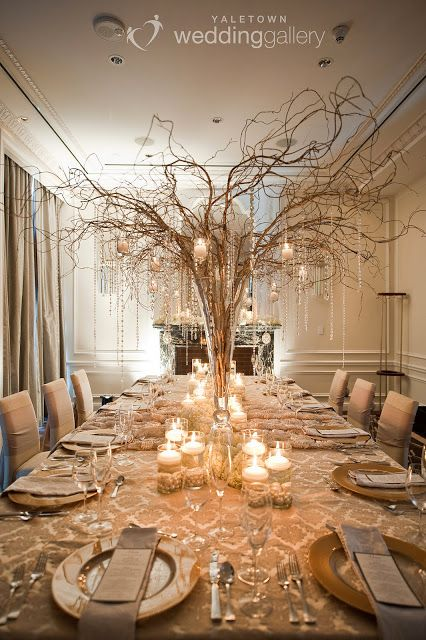 Wedding Design Studio: Earthy Winter Wedding Table Setting.  Love the centerpiece with gold branches, crystals and candles
