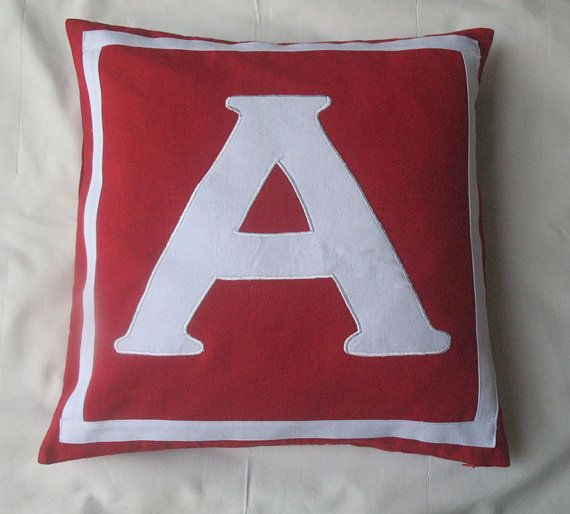red and white monogrammed initial pillows 14 by Comfyheavenpillows, $31.50