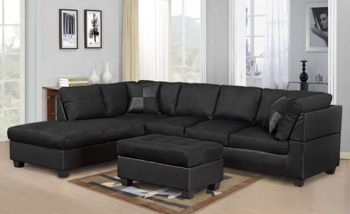 Description: Sectional Sofa, Chaise and Ottoman Color: Black, Chocolate, Saddle…