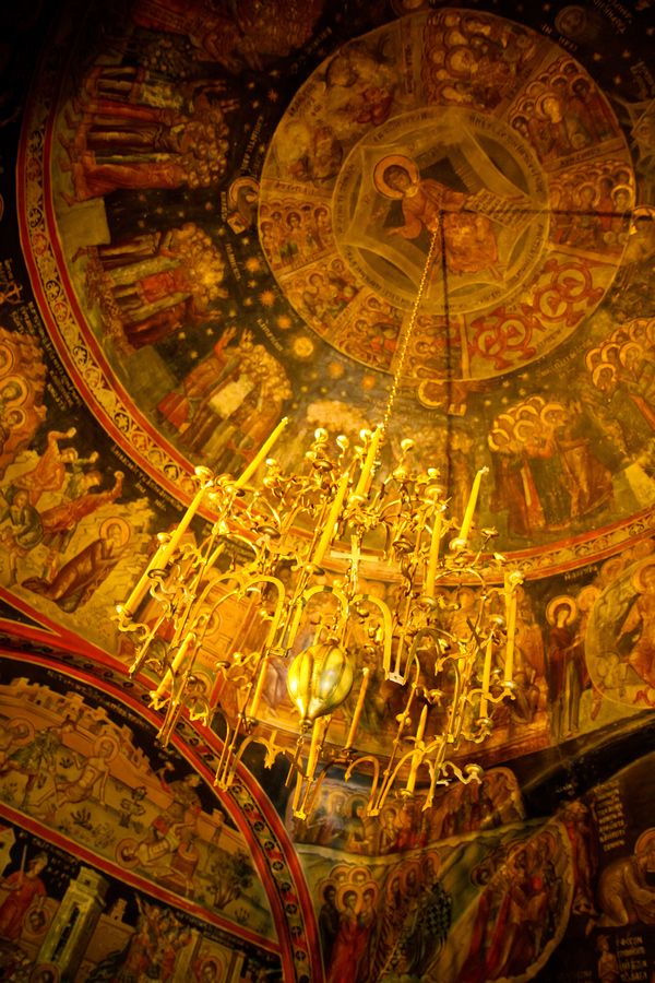This is my Greece | The frescoes at the dome of the narthex of the orthodox church of Metamorphosis (14th century A.C.) at the Roussanou monastery in Meteora, Trikala