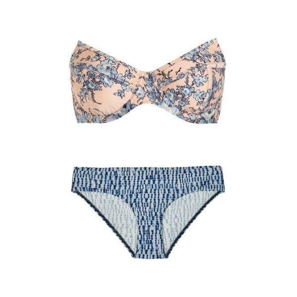 Zimmermann Porcelain Peak Bikini ($78) ❤ liked on Polyvore featuring swimwear, bikinis, swimsuits, floral bikinis, swimsuits bikini, bikini swimsuit, floral bandeau bikini top and bandeau top