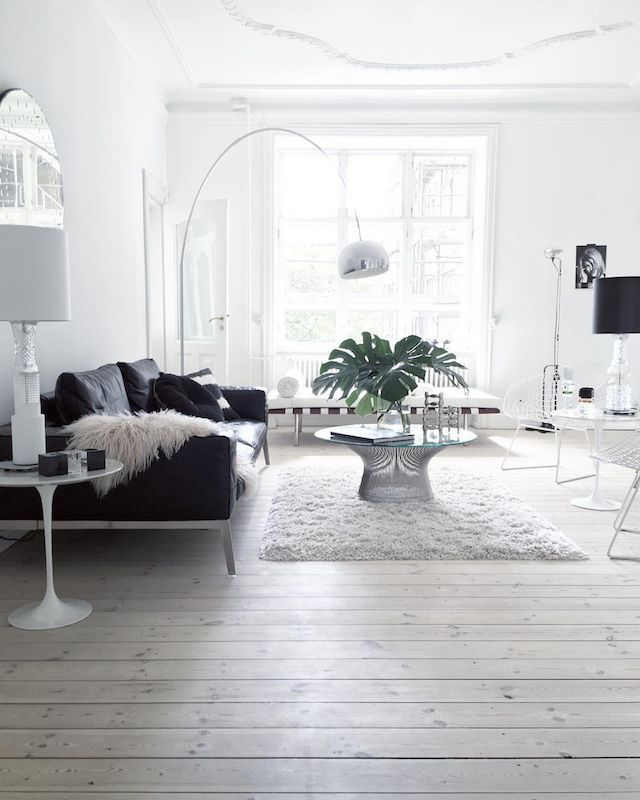 Black and white sitting room in the Danish home of Annika Von Holdt.