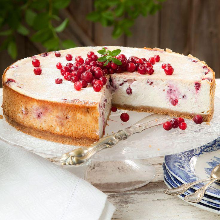 En riktigt fyllig cheesecake med syrliga lingon som bryter av och ger kakan vacker färg.
