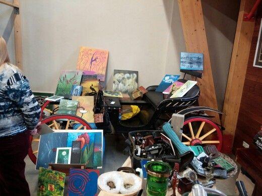 My paintings at today's flea market, Latvia, Riga.