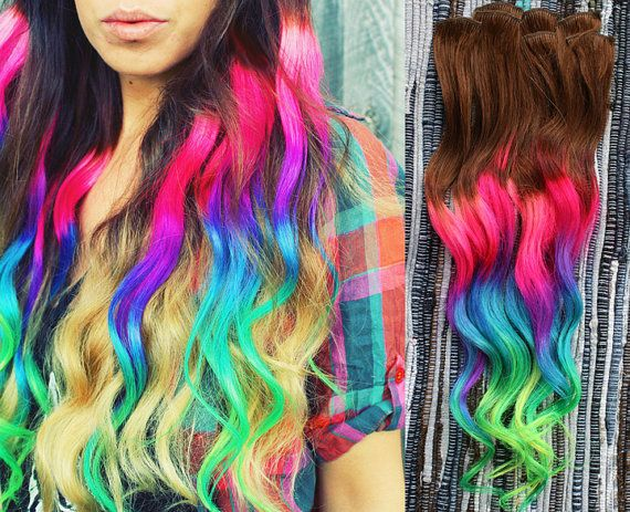 Neon Dream Clip In Hair Extensions Ombre Hair Tie by Cloud9Jewels, $140.00. SOOOOO PRETTY. I WANT