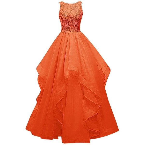 Dresstells Long Prom Dress Asymmetric Bridesmaid Dress Beaded Organza... ($120) ❤ liked on Polyvore featuring dresses, gowns, long dresses, beaded gown, beaded evening gowns, bridesmaid gowns and prom dresses
