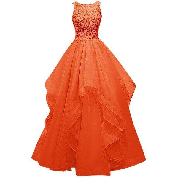 Dresstells Long Prom Dress Asymmetric Bridesmaid Dress Beaded Organza... ($120) ❤ liked on Polyvore featuring dresses, gowns, long dresses, beaded gown, beaded evening gowns, bridesmaid gowns and prom dresses