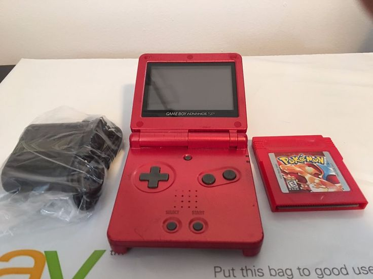 Nintendo Game Boy Advance SP Fire Red + Pokemon Red #Nintendo