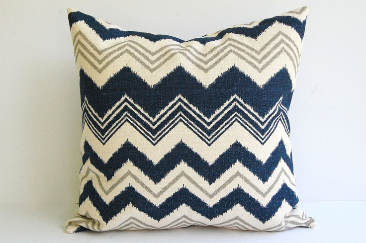 "Navy and Natural pillow cover One 20"" x 20"" Zazzle zig zag chevron stripe in navy natural and gray grey. $21.00, via Etsy."