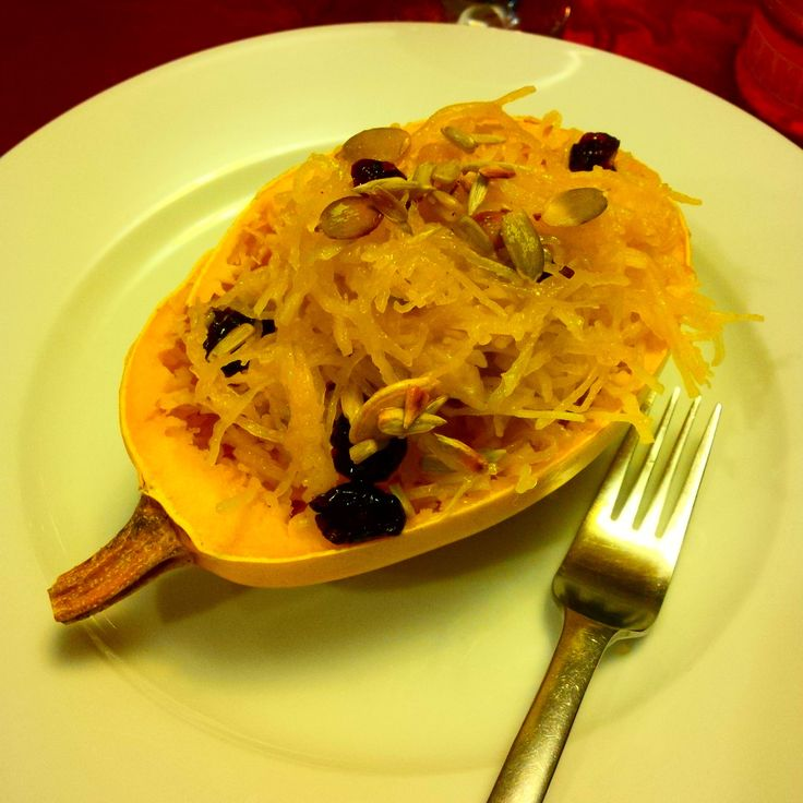 Spaghetti Squash Nest: 1 small organic spaghetti squash cut in half (cooked for 20-25 minutes - once cooked scratch the squash with a fork - keep the skin, it will be your plate! ) Mix organic dried cranberries, slightly toasted pumpkin & sunflower seeds, curry powder, pumpkin oil& tamari sauce. Fill in squash cups with the preparation. #yummy! #ABCuisine