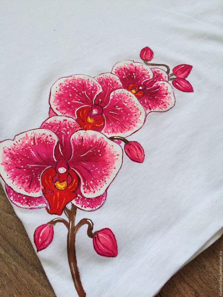 """Купить """"Орхидеи"""" - белый, роспись по ткани, роспись одежды, роспись футболок, роспись на заказ"""