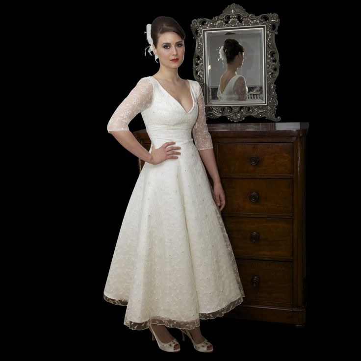 Unique Ivory Tea Length Wedding Dress With Sleeves