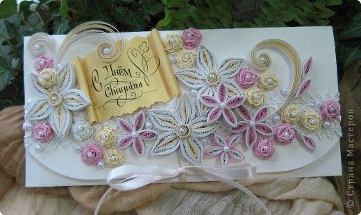 Открытка Свадьба Квиллинг Свадебные конвертики для денежного подарка Бумажные полосы фото 1