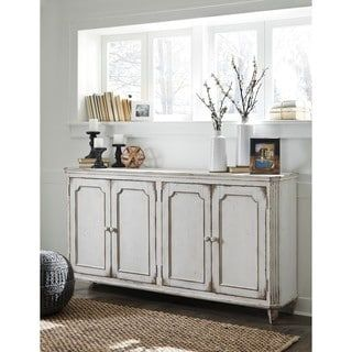 Shop for Signature Design by Ashley Mirimyn Antique White Accent Cabinet Credenza. Get free shipping at Overstock.com - Your Online Furniture Outlet Store! Get 5% in rewards with Club O! - 20156035