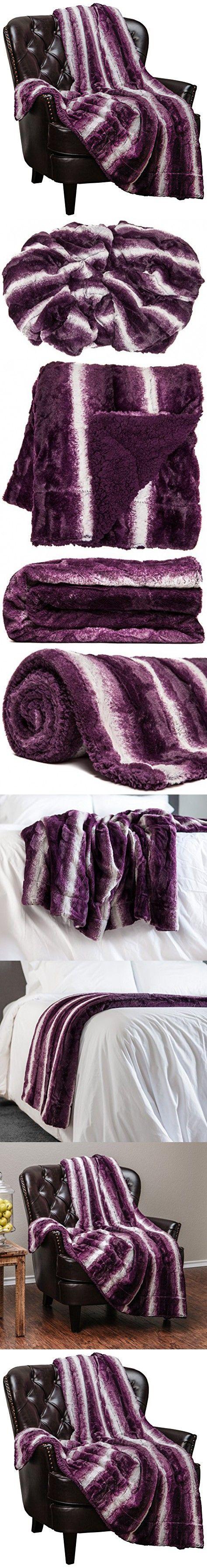 """Chanasya Super Soft Fuzzy Fur Elegant Faux Fur Falling Leaf Pattern With Fluffy Plush Sherpa Cozy Warm Purple Throw Blanket (50"""" x 65"""") - Violet Aubergine and White"""