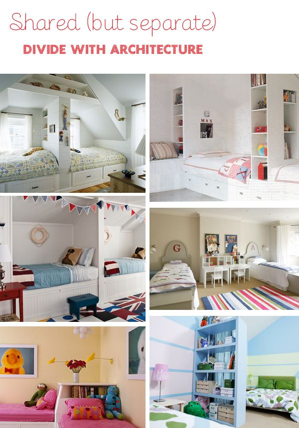 very cute ideas for *shared* space in bedrooms.  Might need this one day. Just thinking about some of the things me and Lish did makes me smile.