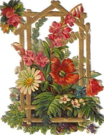 Victorian Die Cut Scrap Floral Golden Arbor c1880s