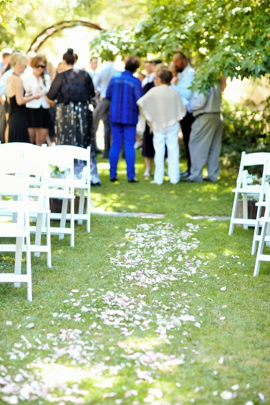 Rose petal aisle @ Chateau Dore Winery