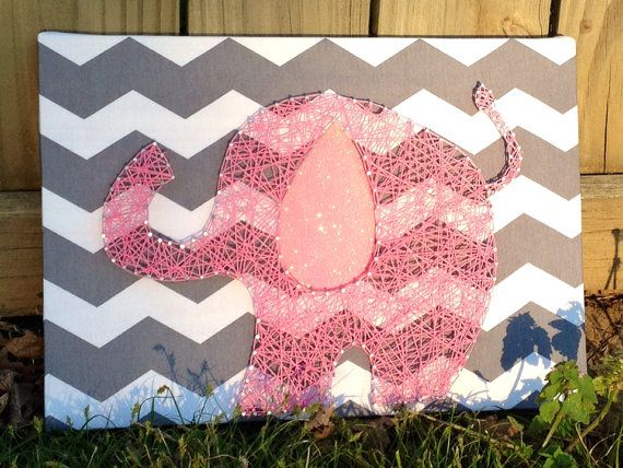 Pink Elephant in String Art with Glitter Ear on by NailedItDesign, $29.00