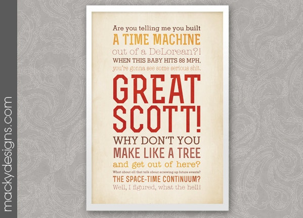 Great Scott Back To The Future Quotes Typographic Print 13x19