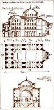 Planta y secciones de Santa Irene de Constantinopla. Replica de Santa Sofia en menores dimensiones. Importante la construcción del tambor.