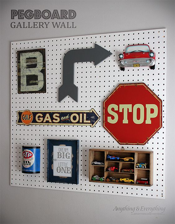 Vintage car Pegboard Gallery Wall for toddler boys room - Anything & Everything #monthlydiychalenge #gallerywall