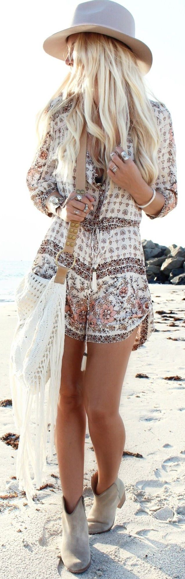 Boho chic romper playsuit with modern hippie fringe purse for a gypsy style look. For MORE Bohemian looks FOLLOW https://www.pinterest.com/happygolicky/the-best-boho-chic-fashion-bohemian-jewelry-gypsy-/ now