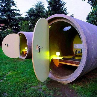 """Das Park Hotel in Essen, Germany  Das Park Hotel is a hotel made of """"repurposed, incredibly robust drain pipes"""" located in Germany. Guests can request a key code online and pay whatever they wish for a maximum of three days at this no-frills space."""